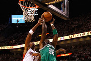 Mickael Pietrus #28 of the Boston Celtics attempts a shot in the first half against Chris Bosh #1 of the Miami Heat in Game Five of the Eastern Conference Finals in the 2012 NBA Playoffs on June 5, 2012 at American Airlines Arena in Miami, Florida. NOTE TO USER: User expressly acknowledges and agrees that, by downloading and or using this photograph, User is consenting to the terms and conditions of the Getty Images License Agreement.