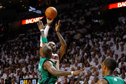 LeBron James #6 of the Miami Heat attempts a shot against Mickael Pietrus #28 of the Boston Celtics in the second half of Game One of the Eastern Conference Finals in the 2012 NBA Playoffs on May 28, 2012 at American Airlines Arena in Miami, Florida.  NOTE TO USER: User expressly acknowledges and agrees that, by downloading and or using this photograph, User is consenting to the terms and conditions of the Getty Images License Agreement.