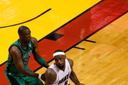 LeBron James #6 of the Miami Heat moves the ball in the first half against Mickael Pietrus #28 of the Boston Celtics in Game Two of the Eastern Conference Finals in the 2012 NBA Playoffs on May 30, 2012 at American Airlines Arena in Miami, Florida. NOTE TO USER: User expressly acknowledges and agrees that, by downloading and or using this photograph, User is consenting to the terms and conditions of the Getty Images License Agreement.