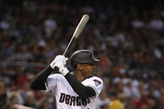 Adam Jones #10 of the Arizona Diamondbacks bats against the Boston Red Sox during the first inning of the MLB game at Chase Field on April 05, 2019 in Phoenix, Arizona.