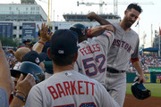 Rick Porcello #22 of the Boston Red Sox celebrates with teammates after driving in three runs with a double in the second inning against the Washington Nationals at Nationals Park on July 2, 2018 in Washington, DC.