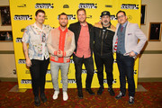 "Matthew Charles Ducey, Lance Bass, Aaron Kunkel, Joey Fatone, and Nicholas Caprio attend the ""The Boy Band Con: The Lou Pearlman Story"" Premiere - 2019 SXSW Conference and Festivals at Paramount Theatre on March 13, 2019 in Austin, Texas."