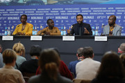 "(L-R) Aissa Maiga, Maxwell Simba, director Chiwetel Ejiofor and William Kamkwamba are seen at the press conference for the Netflix film ""The Boy Who Harnessed The Wind"" during the 69th Berlinale International Film Festival Berlin at Grand Hyatt Hotel on February 12, 2019 in Berlin, Germany."