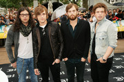 **UK TABLOID NEWSPAPERS OUT** L-R Nathan Followill, Jared Followill, Caleb Followill and Matthew Followill of the Kings of Leon attend the UK premiere of 'Bruno', held at Empire Leicester Square on June 17, 2009 in London, England.