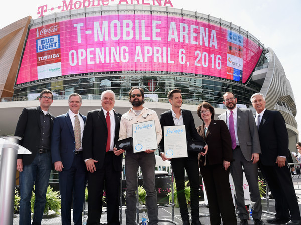 T-Mobile Arena and Toshiba Plaza Grand Opening in Las Vegas [ceo,andrew sherrard,brandon flowers,ronnie vannucci jr.,jim murren,steve sisolak,mary beth scow,social group,community,event,team,company,advertising,tourism,las vegas,t-mobile arena,toshiba plaza grand opening]