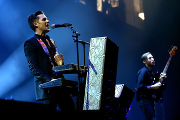 Brandon Flowers Mark Stoermer The Killers with Wayne Newton Perform at Grand Opening of T-Mobile Arena