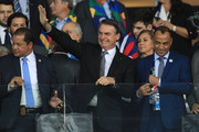 President of Brazil Jair Bolsonaro smiles with Cafu during the Copa America Brazil 2019 Semi Final match between Brazil and Argentina at Mineirao Stadium on July 02, 2019 in Belo Horizonte, Brazil.