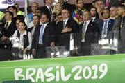 (L-R) President of Brazil Jair Bolsonaro, Paulo Guedes Minister of Economy of Brazil and Cafu look on during the national anthem from the stands prior to the Copa America Brazil 2019 Semi Final match between Brazil and Argentina at Mineirao Stadium on July 02, 2019 in Belo Horizonte, Brazil.