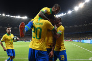 Gabriel Jesus of Brazil celebrates after scoring the opening goal during the Copa America Brazil 2019 Semi Final match between Brazil and Argentina at Mineirao Stadium on July 02, 2019 in Belo Horizonte, Brazil.