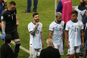 Lionel Messi of Argentina reacts after losing the Copa America Brazil 2019 Semi Final match between Brazil and Argentina at Mineirao Stadium on July 02, 2019 in Belo Horizonte, Brazil.