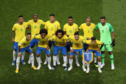 Brazil pose for a team photo prior to  prior to the 2018 FIFA World Cup Russia Quarter Final match between Brazil and Belgium at Kazan Arena on July 6, 2018 in Kazan, Russia.