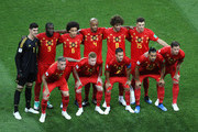 Belgium pose for a team photo prior to  prior to the 2018 FIFA World Cup Russia Quarter Final match between Brazil and Belgium at Kazan Arena on July 6, 2018 in Kazan, Russia.