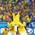 Hulk Luiz Gustavo Photos - (L-R) Hulk, Jo and Luiz Gustavo of Brazil celebrate after defeating Chile in a penalty shootout during the 2014 FIFA World Cup Brazil round of 16 match between Brazil and Chile at Estadio Mineirao on June 28, 2014 in Belo Horizonte, Brazil. - Brazil v Chile: Round of 16 - 2014 FIFA World Cup Brazil