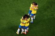 Brazil players celebrate victory following the 2018 FIFA World Cup Russia Round of 16 match between Brazil and Mexico at Samara Arena on July 2, 2018 in Samara, Russia.