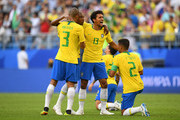 Fernandinho, Miranda, Marquinhos and Thiago Silva of Brazil celebrate victory following the 2018 FIFA World Cup Russia Round of 16 match between Brazil and Mexico at Samara Arena on July 2, 2018 in Samara, Russia.
