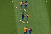 Brazil players warm up prior to  the 2018 FIFA World Cup Russia Round of 16 match between Brazil and Mexico at Samara Arena on July 2, 2018 in Samara, Russia.