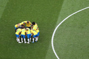 Brazil form a huddle prior to the 2018 FIFA World Cup Russia Round of 16 match between Brazil and Mexico at Samara Arena on July 2, 2018 in Samara, Russia.