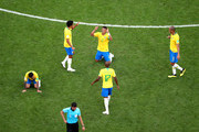 Brazil players celebrates acknowledge the fans following the 2018 FIFA World Cup Russia Round of 16 match between Brazil and Mexico at Samara Arena on July 2, 2018 in Samara, Russia.