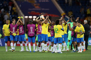 Players of Brazil acknowledges the fans during the 2018 FIFA World Cup Russia group E match between Brazil and Switzerland at Rostov Arena on June 17, 2018 in Rostov-on-Don, Russia.