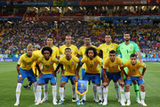 Brazil team lines up prior to the 2018 FIFA World Cup Russia group E match between Brazil and Switzerland at Rostov Arena on June 17, 2018 in Rostov-on-Don, Russia.
