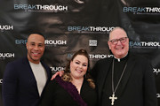 Producer DeVon Franklin, actress Chrissy Metz and Cardinal Timothy Dolan attend a special New York screening of 'Breakthrough' at The Sheen Center on March 11, 2019 in New York City.