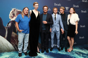 (L-R) Elizabeth Debicki, Tim Winton, Simon Baker, Ben Spence and Samson Coulter pose during the Breath Sydney Red Carpet Premiere at The Ritz Cinema on April 26, 2018 in Sydney, Australia.