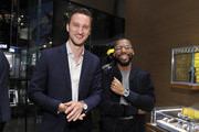 Marcel Floruss (L) and Brandon Bryant attend Breitling Boutique Los Angeles welcomes Armie Hammer and Elivs Mitchell to unveil the all-new Breitling Premier Collection of watches at Westfield Century City on November 29, 2018 in Century City, California.