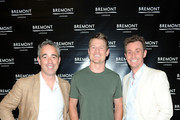 (L-R) Co-Founder Bremont Watch Company Giles English, actor Philip Winchester and Co-Founder Bremont Watch Company Nick English attend Bremont Watches NYC Boutique opening with unveiling of America's Cup at Bremont Boutique on June 23, 2015 in New York City.