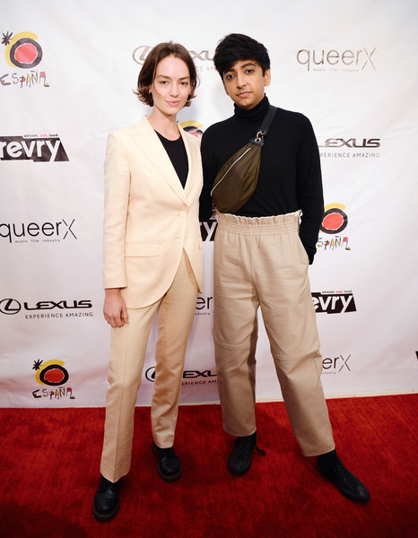 Revry's 4th Annual QueerX Festival [red carpet,carpet,suit,fashion,premiere,flooring,formal wear,event,pantsuit,fashion design,revry,brigette lundy-paine,nik dodani,visibility awards,honoree,west hollywood,california,l,4th annual queerx festival,gala]