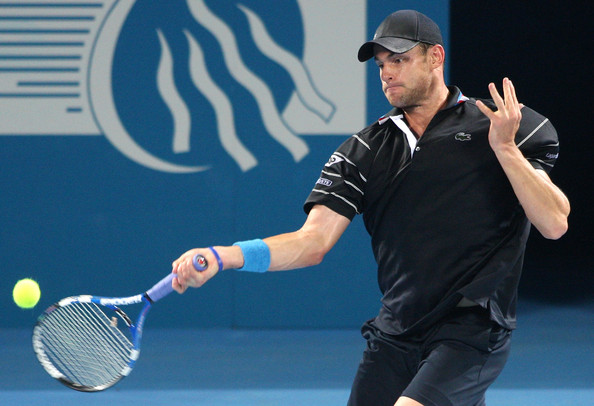 Andy Roddick of the USA plays a forehand in his first round match against Peter Luczak of Australia during day two of the Brisbane International 2010 at Queensland Tennis Centre on January 4, 2010 in Brisbane, Australia.