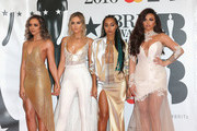 Jade Thirlwall, Perrie Edwards, Leigh-Anne Pinnock and Jesy Nelson from Little Mix attend the BRIT Awards 2016 at The O2 Arena on February 24, 2016 in London, England.