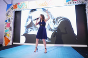 Christina Bianco performs onstage as Brit + Co Kicks Off Experiential Pop-Up #CreateGood with Allison Williams and Daphne Oz at Brit + Co on October 4, 2017 in New York City.