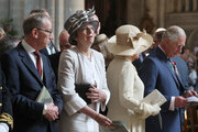 Philip May, British Prime Minister Theresa May, Camilla, Duchess of Cornwall and Prince Charles, Prince of Wales attend the Royal British Legion Service of Remembrance at Bayeux Cathedral, as part of commemorations for the 75th anniversary of the D-Day landings on June 6, 2019 in Bayeux, France. Veterans, families, visitors, political leaders and military personnel are gathering in Normandy to commemorate D-Day, which heralded the Allied advance towards Germany and victory about 11 months later.