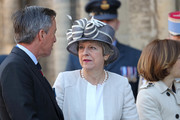 Britain's Prime Minister Theresa May arrives at Bayeux Cathedral on June 06, 2019 in Bayeux, France. Veterans, families, visitors, political leaders and military personnel are gathering in Normandy to commemorate D-Day, which heralded the Allied advance towards Germany and victory about 11 months later.
