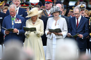 Prince Charles, Prince of Wales, Camilla, Duchess of Cornwall, Prime Minister, Theresa May and Philip May attend a memorial service in Bayeux Cemetery on June 06, 2019 in Bayeux, France. Veterans and families gathered in Normandy to commemorate D-Day's 75th anniversary. It has been announced that 16 countries had signed a historic proclamation of peace to ensure the horrors of the Second World War are never repeated. The text has been agreed by Australia, Belgium, Canada, Czech Republic, Denmark, France, Germany, Greece, Luxembourg, Netherlands, Norway, New Zealand, Poland, Slovakia, the United Kingdom and the United States of America.