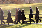 (L-R) Prince Harry, Camilla, Duchess of Cornwall, Prince Charles, Prince of Wales, Prince Andrew, Duke of York, Princess Eugenie, Prince William, Duke of Cambridge and Catherine, Duchess of Cambridge walk from Sandringham Church after an early Christmas Day service at Sandringham on December 25, 2011 in King's Lynn, England. The Queen and the Duke of Edinburgh traditionally lead the royals in attending a church service at Sandringham Church on Christmas Day. It is the Duchess of Cambridge's first Christmas at Sandringham after her marriage to Prince William, Duke of Cambridge in April of this year. This year the Duke of Edinburgh spent Christmas Eve in Papworth Hospital after having cardiac surgery to fit a stent in his coronary artery.