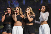 Jesy Nelson; Jade Thirlwall; Perrie Edwards and Leigh-Anne Pinnock of Little Mix performs on stage at British Summer Time Festival at Hyde Park on July 13, 2014 in London, United Kingdom.