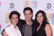 Actress/writer Ilana Glazer, actor/writer Paul W. Downs, and actress/writer Abbi Jacobson attend The Broad City Season 2 Premiere Party at 26 Bridge Street on January 7, 2015 in New York City.