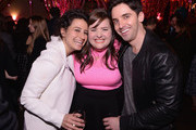 Actress/writer Ilana Glazer, actress Aidy Bryant, and actor/writer Paul W. Downs attend The Broad City Season 2 Premiere Party at 26 Bridge Street on January 7, 2015 in New York City.
