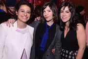 Actress/writer Ilana Glazer, actress/musician Carrie Brownstein, and actress/writer Abbi Jacobson attend The Broad City Season 2 Premiere Party at 26 Bridge Street on January 7, 2015 in New York City.