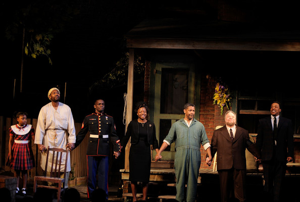 "Actors SaCha Stewart-Coleman, Mykelti Williamson, Chris Chalk, Viola Davis, Denzel Washington, Stephen McKinley Henderson and Russell Hornsby take a bow during the curtain call for the Broadway Opening of ""Fences"" at the Cort Theatre on April 26, 2010 in New York City."