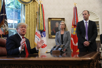 Brock Long President Trump Briefed On Hurricane Michael By Secretary Of Homeland Security Nielsen And FEMA Chief Long In Oval Office