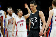 Jeremy Lin #7 of the Brooklyn Nets reacts to a one point loss to the Detroit Pistons at the Palace of Auburn Hills on March 30, 2017 in Auburn Hills, Michigan. Detroit won the game 90-89. NOTE TO USER: User expressly acknowledges and agrees that, by downloading and or using this photograph, User is consenting to the terms and conditions of the Getty Images License Agreement.