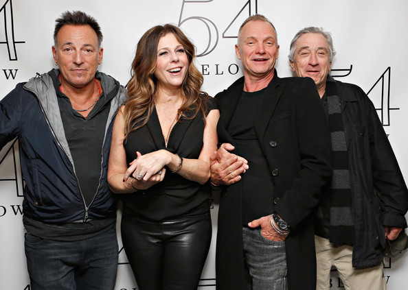Bruce Springsteen (EXCLUSIVE ACCESS) Bruce Springsteen (L), Sting and Robert De Niro pose with actress/ singer Rita Wilson (2nd L) backstage following her performance at 54 Below on April 15, 2013 in New York City.