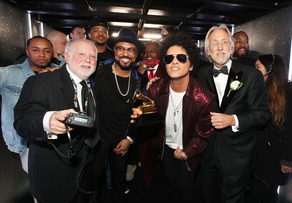 60th Annual GRAMMY Awards - Backstage [album of the year,event,fashion,fun,eyewear,suit,wine,drink,formal wear,distilled beverage,neil portnow,ken ehrlich,bruno mars,philip lawrence,backstage,grammy awards,l-r,musicares,recording academy]