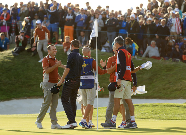 2018 Ryder Cup - Afternoon Foursome Matches [crowd,yellow,sports,sport venue,competition event,championship,team,games,recreation,player,alex noren,sergio garcia,webb simpson,bubba watson,victory,europe,united states,le golf national,foursome matches,ryder cup]