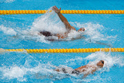 Javier Acevedo of Canada and Matt Grevers of the United States competes during the Men's 100m Backstroke Heats on day eleven of the Budapest 2017 FINA World Championships on July 24, 2017 in Budapest, Hungary.