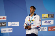 Matt Grevers of the United States celebrates his Bronze Medal in the Men's 50m Backstroke Final  on day seventeen of the Budapest 2017 FINA World Championships on July 30, 2017 in Budapest, Hungary.