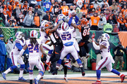 Tyler Boyd #83 of the Cincinnati Bengals and James Wright #86 of the Cincinnati Bengals are unable to catch a hail marry attempt at the end of the game against the Buffalo Bills at Paul Brown Stadium on November 20, 2016 in Cincinnati, Ohio. Buffalo defeated Cincinnati 16-12.