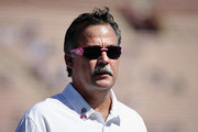 Head coach Jeff Fisher watches his team warm up before the game against the Buffalo Bills at the Los Angeles Memorial Coliseum on October 9, 2016 in Los Angeles, California.